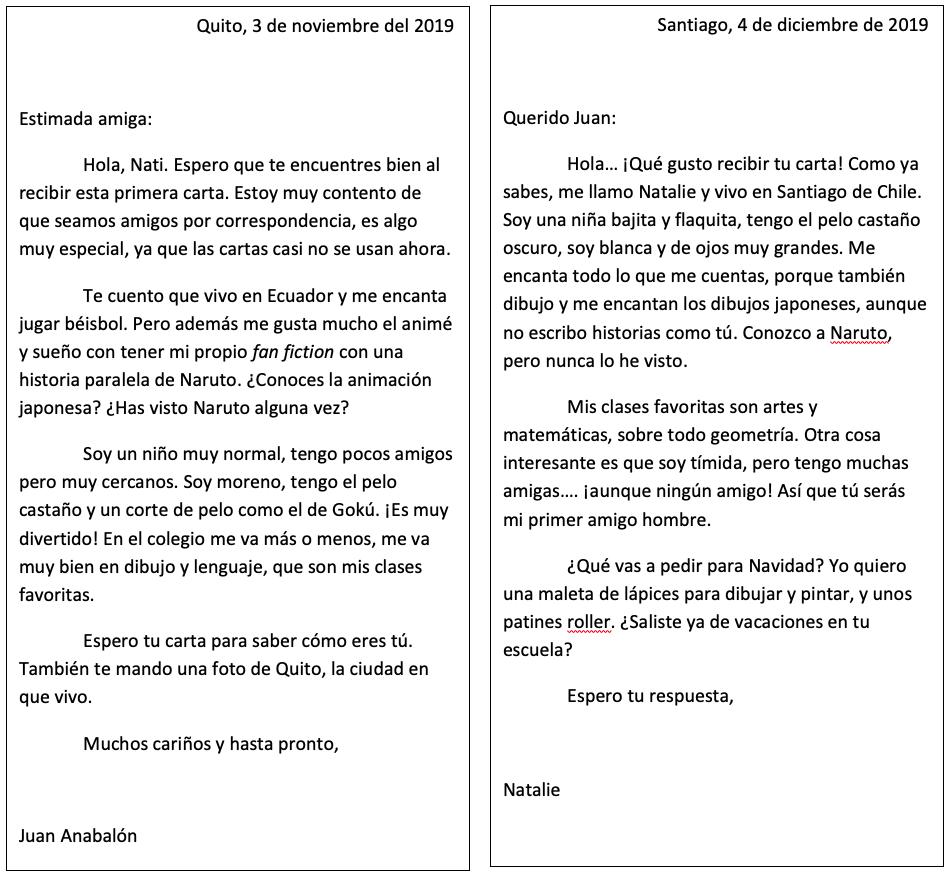 Cartas didácticas actividad Amigos por Correspondencia